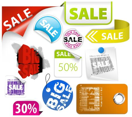 Set of colorful discount tickets, labels, stamps, stickers, corners, tags
