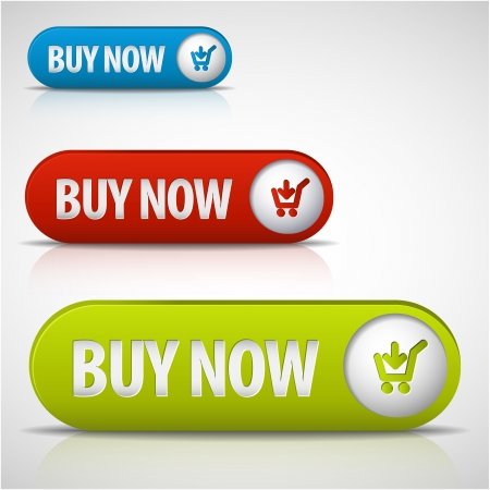 set of buy now buttons - red, green and blue
