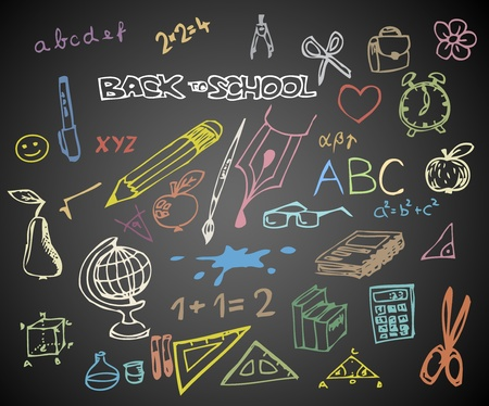 Photo for Back to school - set of school doodle vector illustrations on blackboard - Royalty Free Image
