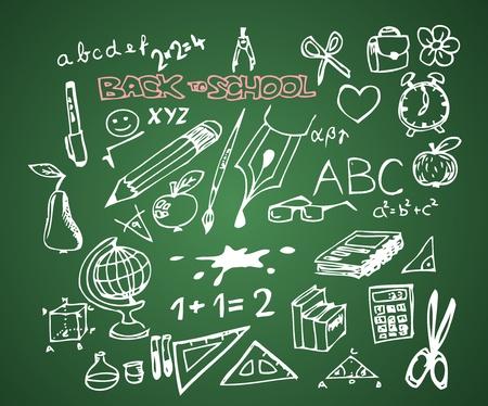 Back to school - set of school doodle vector illustrations on green blackboard