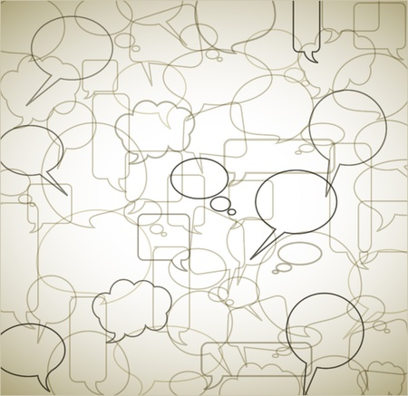 Illustration pour Vector vintage background made from speech bubbles - outlines and borders - image libre de droit