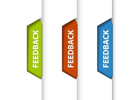 Feedback tabs on the edge of the (web) page - red, green and blue