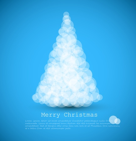 modern card with abstract white christmas tree on a blue  background