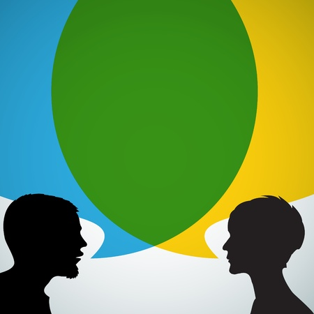 Abstract speakers silhouettes with big blue and yellow bubble (chat, dialogue, talk or discussion)