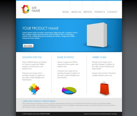 Vector Modern product homepage  template - Blue version