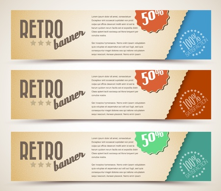 Set of retro horizontal banners - with place for your textのイラスト素材
