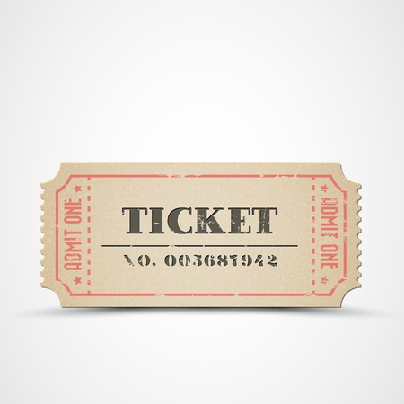 Old vintage paper ticket with number
