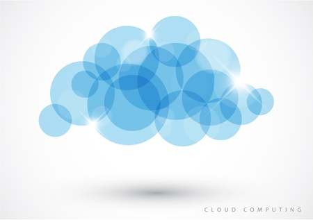 Cloud computing icon made from blue circles - vector illustration