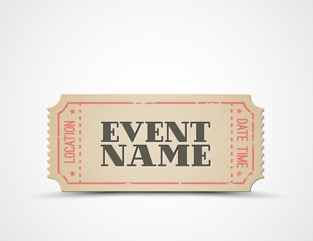 ticket template for your event - brown and red
