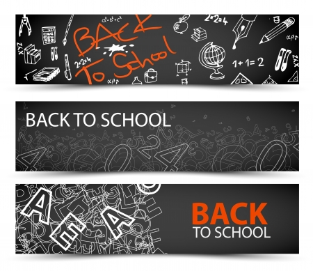 Illustration pour Back to School banners with drawings, doodles and letters - image libre de droit