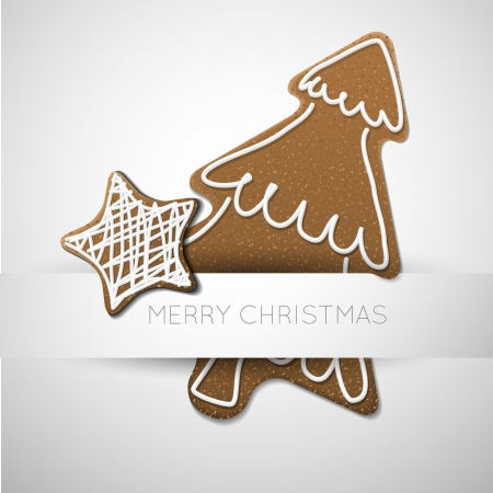 Christmas card - gingerbread tree with white icing  and place for your textのイラスト素材