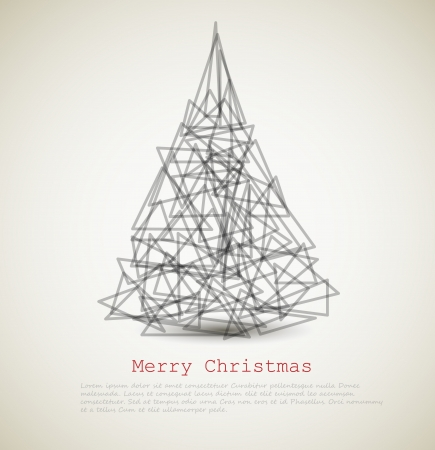 modern card with abstract christmas tree on a light background