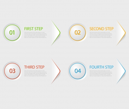 One two three four - colorful flat vector progress icons for four