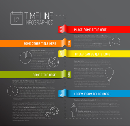 Vector dark Infographic timeline report template with icons