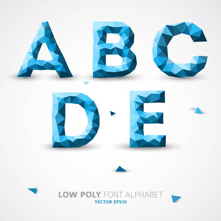 Blue low poly alphabet font with shadowの素材 [FY31032518672]