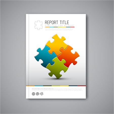 Illustration pour Modern Vector abstract brochure, report or flyer design template with puzzle pieces - image libre de droit