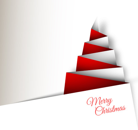 Simple vector christmas tree made from paper - original new year card