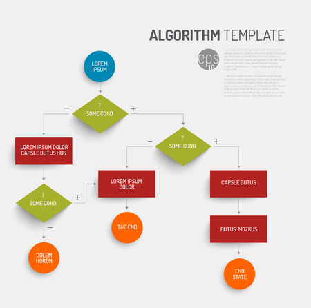 Abstract algorithm template with flat design