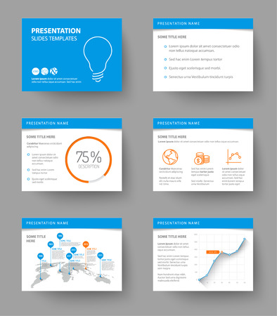 Vector Template for presentation slides with graphs and charts - blue and orange version