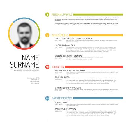 Vector minimalist cv / resume template - minimalistic colorful version