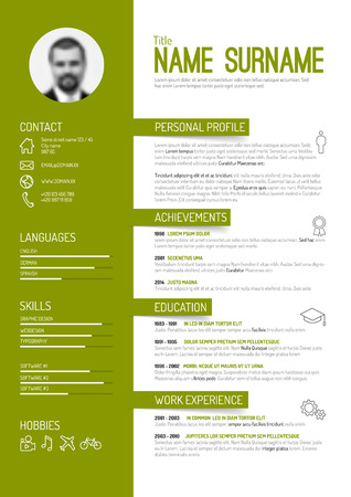 Vector minimalist cv / resume template - green version