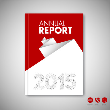 Modern Vector abstract red brochure / book / flyer design template with white paper