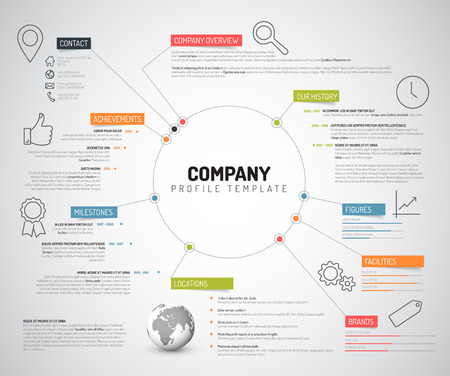 Illustration pour Vector Company infographic overview design template with colorful labels and icons - image libre de droit