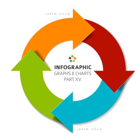Ilustración de Vector flat design infographic elements ( cycle circle with arrows) - 15. part of my infographic bundle - Imagen libre de derechos