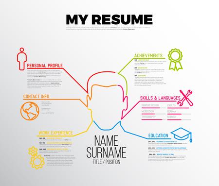 Illustration pour original minimalist cv / resume template - creative version with big avatar - image libre de droit