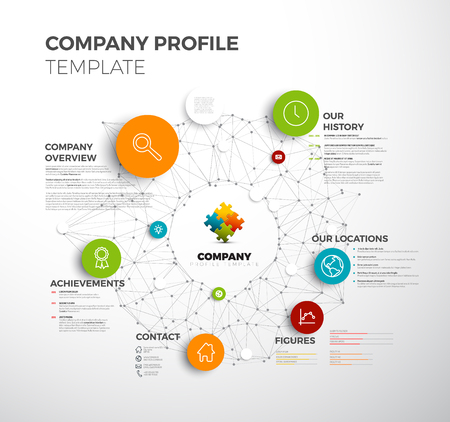 Illustration pour Company info graphic overview design template with network in the background - image libre de droit