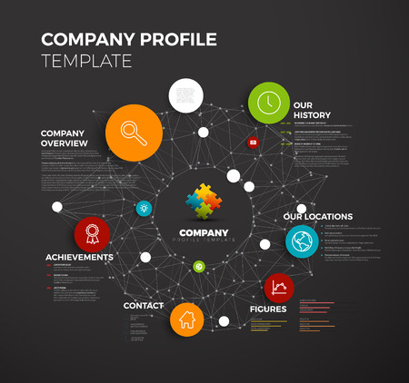 Illustration pour Vector Company infographic overview design template with network in the background - dark version - image libre de droit