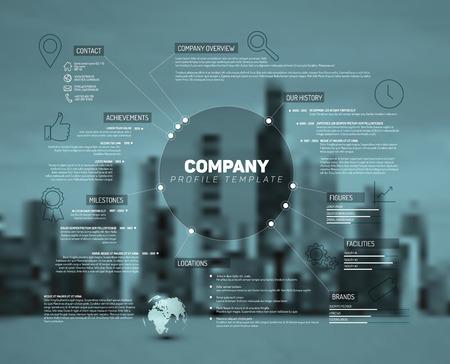 Ilustración de Company infographic overview design template with city photo in the back - teal version - Imagen libre de derechos
