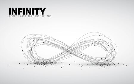 Illustration for Abstract black and white background made from points and circles. Abstract Geometry. Geometrical abstract infinity shape. - Royalty Free Image