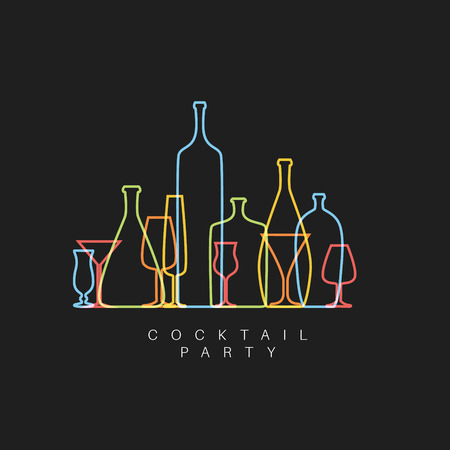 Illustration for dark fresh Cocktail party invitation card with glasses and bottles made by thin line - Royalty Free Image