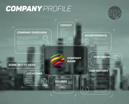 Illustration pour Vector design infographic template of company overview - dark version with all important information. - image libre de droit