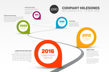 Illustration pour Vector Infographic Company Milestones Timeline Template with pointers on a curved road line - image libre de droit