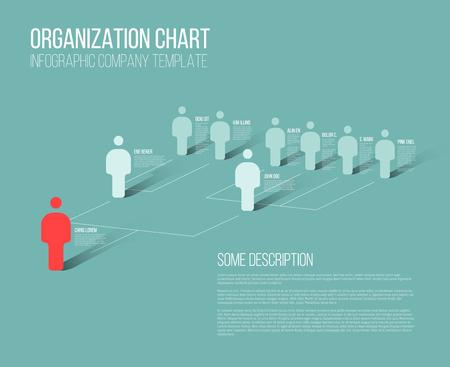 Ilustración de Minimalist company organization hierarchy 3d chart template - Imagen libre de derechos