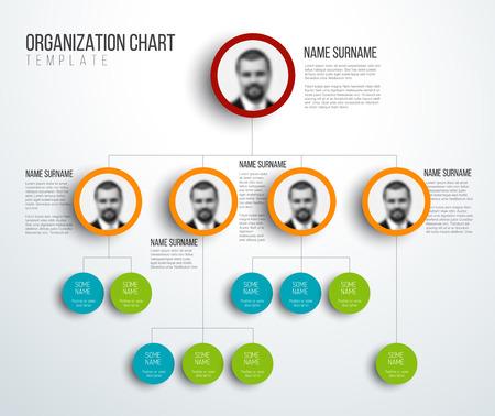 Illustration pour Minimalist organization hierarchy chart template - light version with photos - image libre de droit