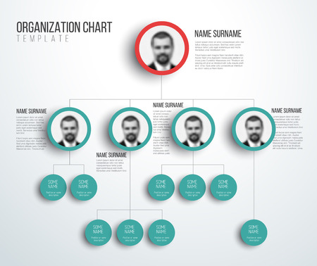 Illustration pour Minimalist company organization hierarchy chart template - light red and teal version with photos - image libre de droit