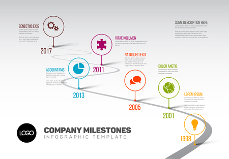 Foto für Vector Infographic Company Milestones Timeline Template with pointers on a curved road line - Lizenzfreies Bild