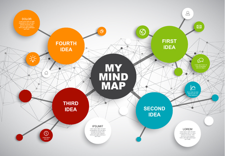 Vektor für Vector abstract mind map infographic template with place for your content - Lizenzfreies Bild