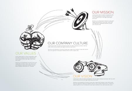 Illustration pour Vector mission, vision and values diagram schema info-graphic with hand drawn icons. - image libre de droit