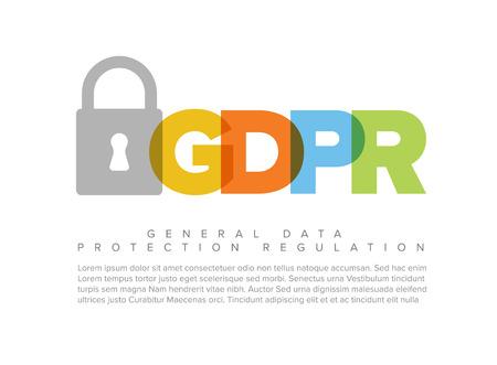 European GDPR concept flyer header template illustration