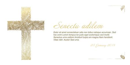 Ilustración de Funeral card template with golden cross made from leafs on white background - Imagen libre de derechos