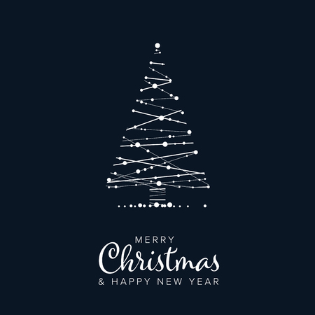 Illustration for Minimalist Christmas flyer  card temlate with abstract christmas tree on a dark blue background - Royalty Free Image