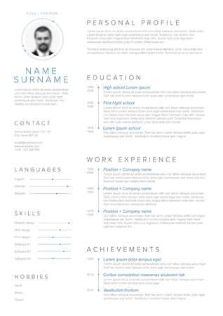 Illustration for Vector minimalist cv / resume template with blue accent and nice typogrgaphy design - Royalty Free Image