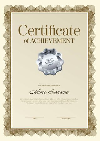 Illustration pour Modern certificate of achievement template with place for your content - golden design vertical version with silver seal - image libre de droit