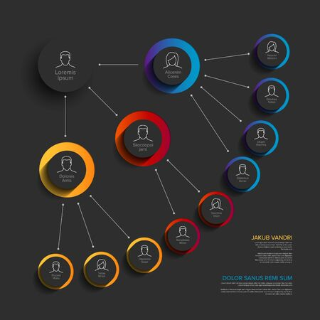 Illustration pour Minimalist company organization hierarchy chart template - blue, red  yellow version with icons - image libre de droit