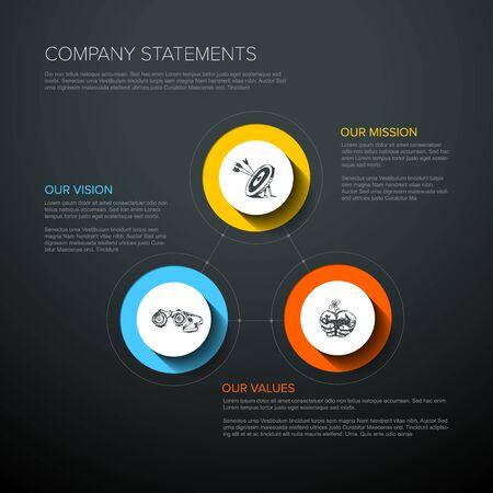 Illustration pour Vector Mission, vision and values diagram schema infographic - vivid colors on a dark background - image libre de droit