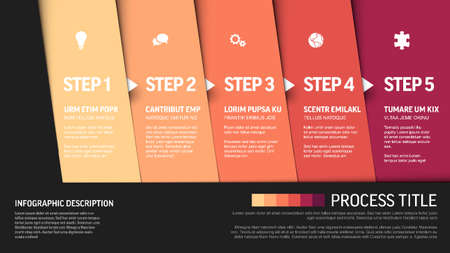 Illustration for One two three four five - vector progress block steps template with descriptions and icons on diagonal blocks - Royalty Free Image
